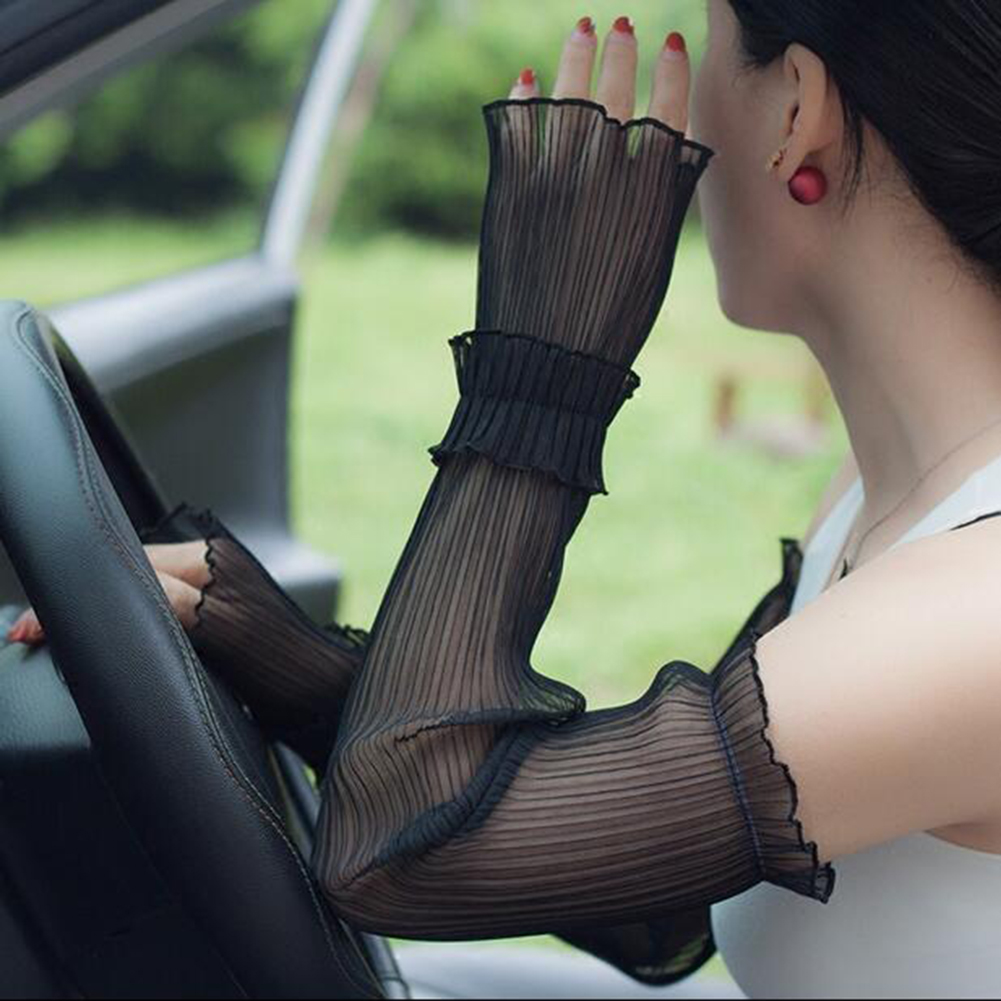 Hot Women Arm Warmers Pleated Yarn Long Breathable Sunscreen Driving Arm Sleeve Fingerless Gloves Sexy Lace Glove Solid White