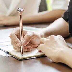 Image 4 - 12 sztuk duży diament kryształowe kulkowe długopisy i 12 sztuk długopisy wkłady długopisowe, czarny tusz (różowe złoto)