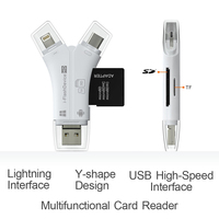 1 x Card Reader 4 in 1 i Flash Drive USB Micro SD&TF Card Reader Adapter for iPhone 5 6 7 8 X for iPadMacbook Android Camera Tpye C (5)