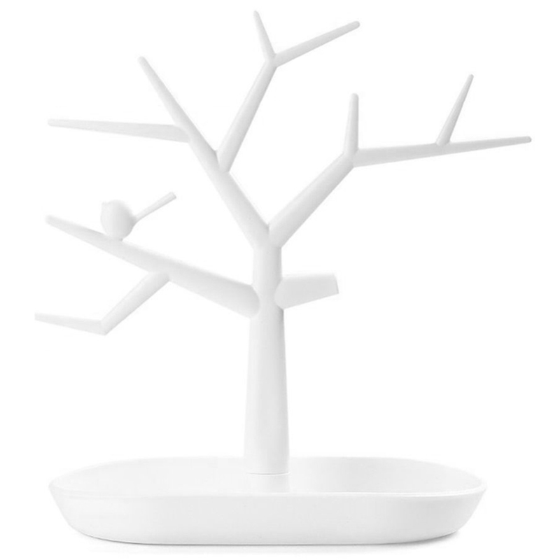 Plastic Bird Tree Jewelry Display Tray Holder Ring Necklace Organizer Rack Stand