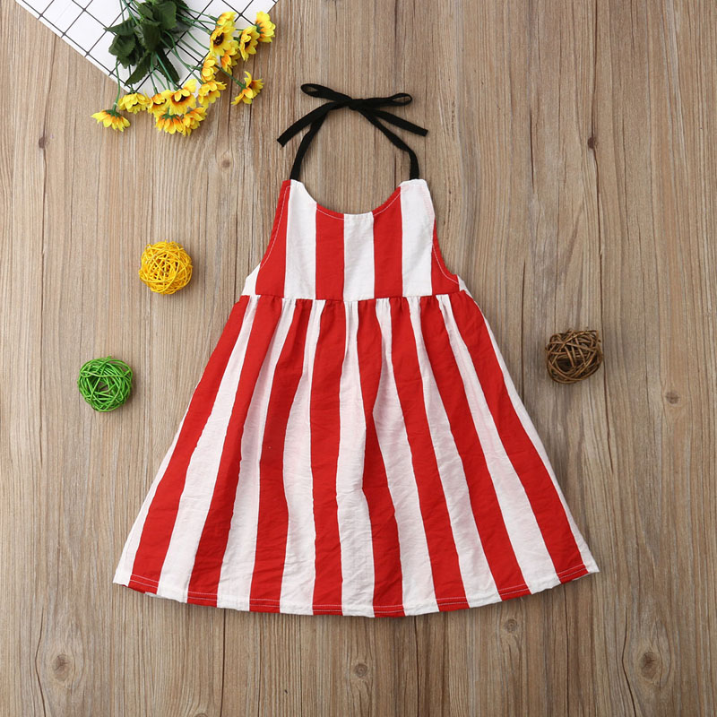 8506a85dfc40 Focusnorm Kids Baby Girl Dress Sleeveless Backless Striped Strap ...