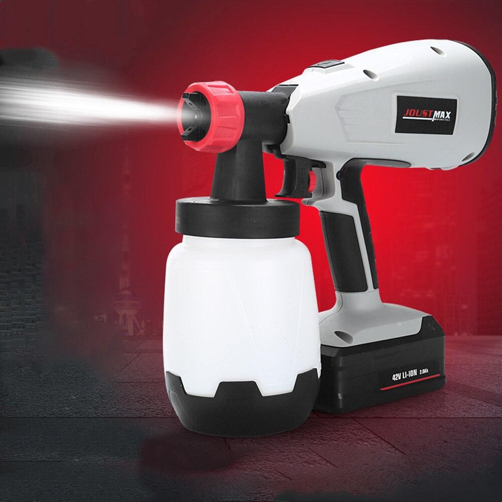 JOUSTMAX High Pressure Spray Gun Hand-Held 42V 400W Li-Ion Electric Rechargeable Paint Spray Gun Nozzle Adjustable Spray Machine