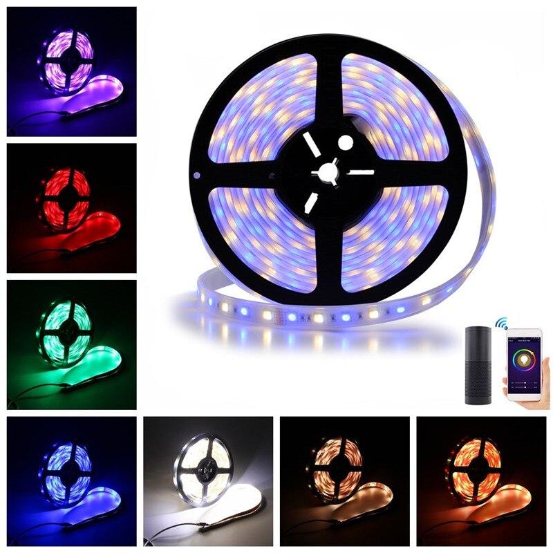 Lumière de bande d'arilux 5 M 360 LED 24 W SMD5050 2835 rvb CCT kit de bande LED + contrôleur d'application de WIFI fonctionnent avec la prise d'alexa EU