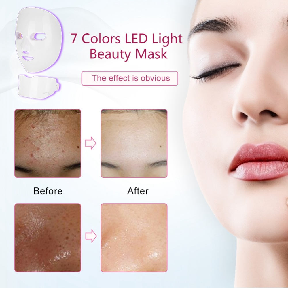 7 kolory Photon maska odmładzania skóry twarzy szyi skóry zaostrzenie Lifting skóry odmładzanie twarzy uroda LED twarzy urządzenie maskujące w Przyrządy do pielęgnacji skóry twarzy od Uroda i zdrowie na  Grupa 3