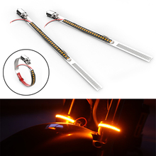 2Pcs 24LED Universal Motorcycle Fork Turn Signals Light Amber LED Strips Stainless Steel DC 12V IP67