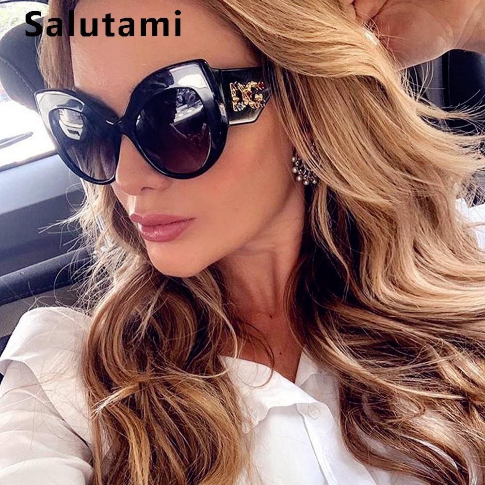 Crystal Letter Frame Cat Eye Women Sunglasses 2019 Luxury Brand Oversize Sun Glasses Female Vintage Retro Black Shades Oculos