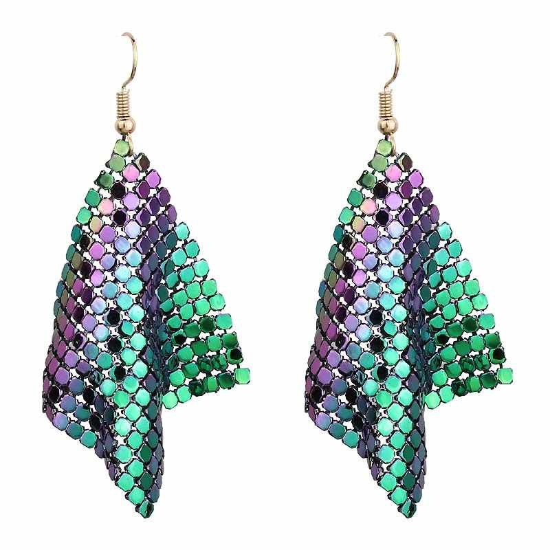 New Fashion Metal Sequins Geometry Tassel Earring for Women Long Shine Square Mesh Hook Statement Drop Earring Sexy Club Jewelry