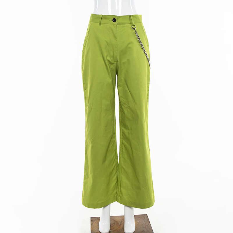 แฟนหลวมนีออนสีเขียวกระเป๋าขากว้างกางเกง Casual ผู้หญิง Harajuku Capri สูงเอวกางเกงขายาว Solid HIP POP กางเกง