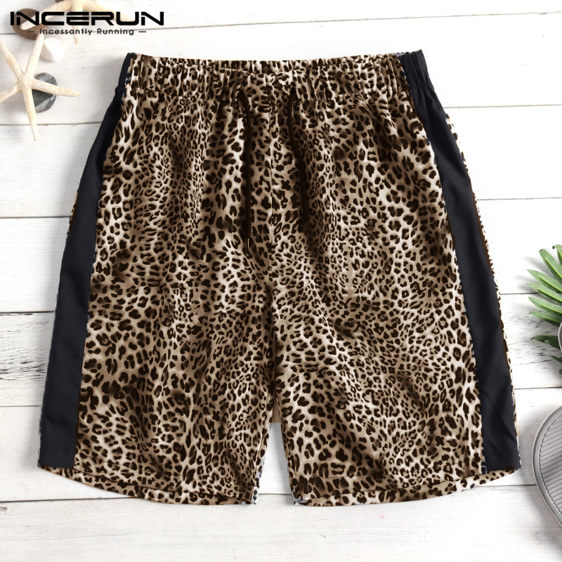 2019 Hiphop Shorts Fashion Shorts Leopard Men Shorts Knee-Length Loose Joggers Loose Patchwork Unisex Male Harajuku Masculina