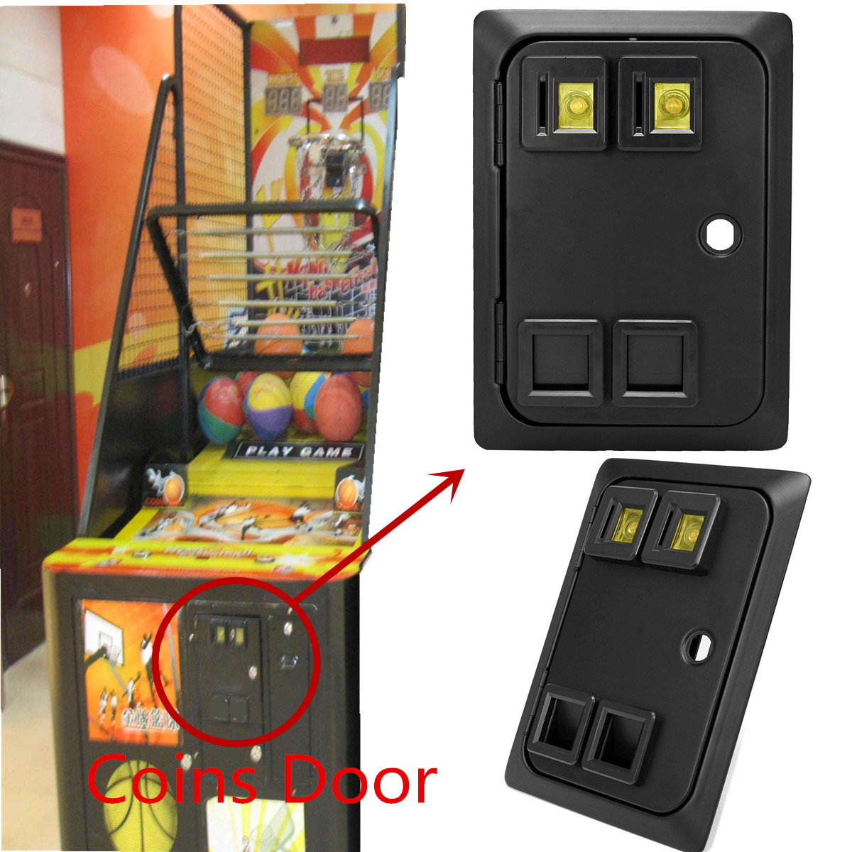 Arcade Or Pinball Game Machine Two Entry Coin Door Wells Gardner Style Coins Door Gate With Mech Coin Operated Game Console Part(China)