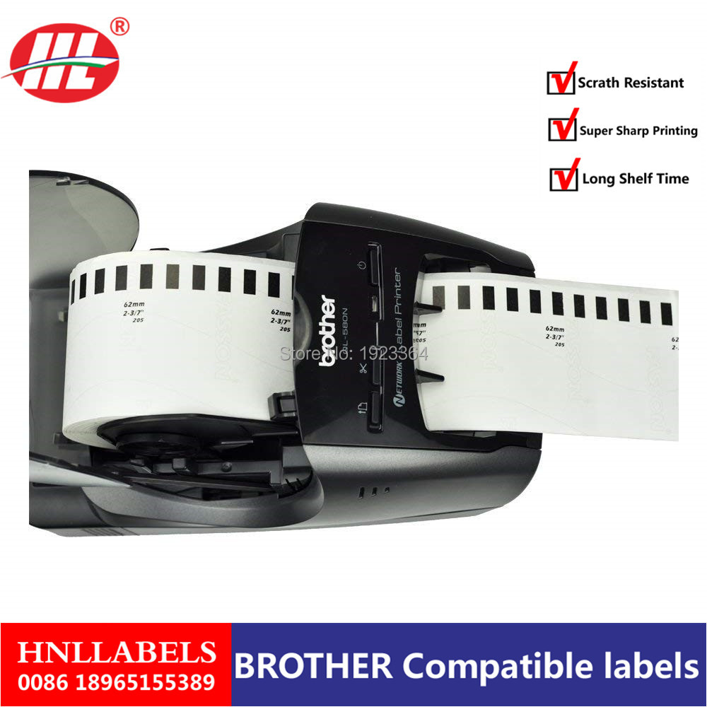 100X Rolls Brother DK 22205 DK-22205 DK22205 DK2205 DK 2205 DK-2205 Compatible Labels 62mm X 30.48m