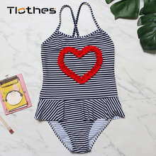 Toddler Kids Swimming Baby Girls Striped Printed Children Swimwear 2019 Summer One Piece Swimsuit Beach Bathing Suit Swim Wear недорого