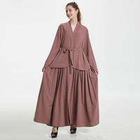 Women Middle East Cardigan Robe Muslim Solid Color Causal Abaya Turkey Jilbab Long Sleeve Arab Islamic Clothing Caftan Marocain