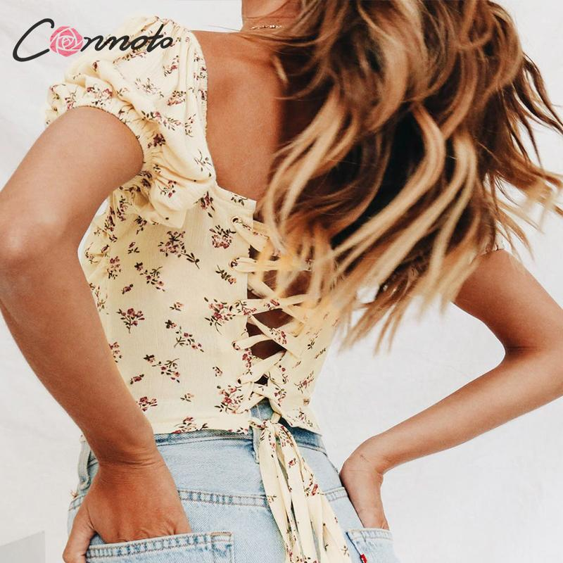 Conmoto Vintage Fashion Floral Print Women Crop Tops and   Blouse   2019 Summer Sexy V Neck Backless Lace up Short   Shirt   Girl Blusa