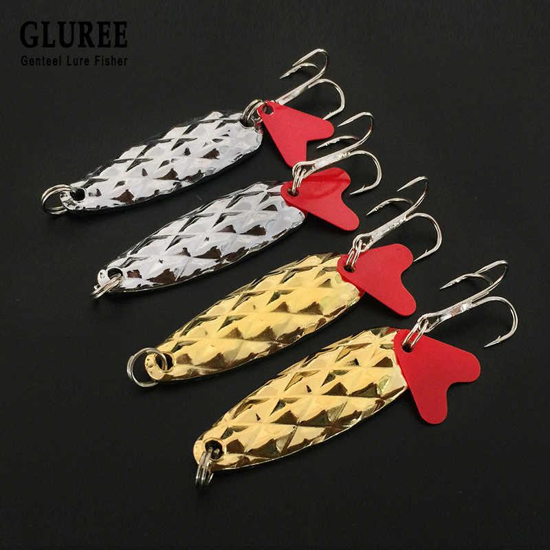 GLUREE 2 יח'\חבילה 5 cm 7g אננס פאייטים דיג פתיונות קשה כף מתכת ספינר פתיונות טרבל וו קרס דיג זהב כסף