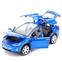 2019 High Simulation 1:32 Tesla Model X90 Metal Model Acousto-optic Pull-back Toy Car 4 Open Door Flashing Music Kids Toy Gift(China)