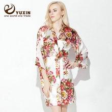 YUXINBRIDAL  Wedding Bride Bridesmaid Floral Robe Satin Rayon Bathrobe Nightgown For Women Kimono Sleepwear Flower Plus Size цена 2017