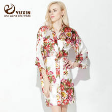 Yuxinbridal Свадебный халат для невесты подружки цветочный Атласный