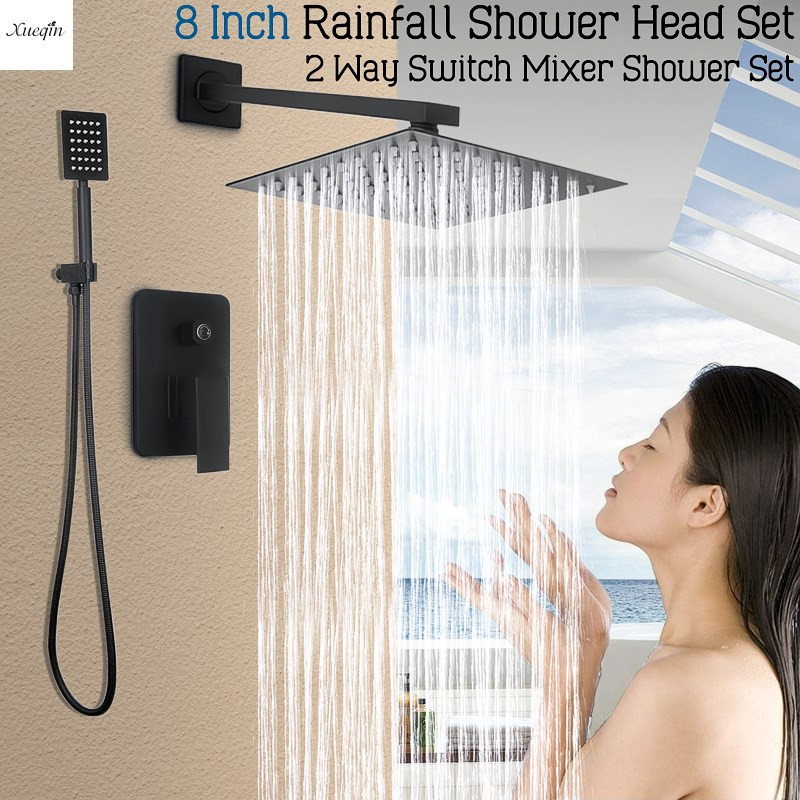 8 Inch Black Square Rainfall Shower Set Bathroom Shower Head Faucet Wall Mounted Mixer Tap Ultrathin Handheld Shower Spray Set