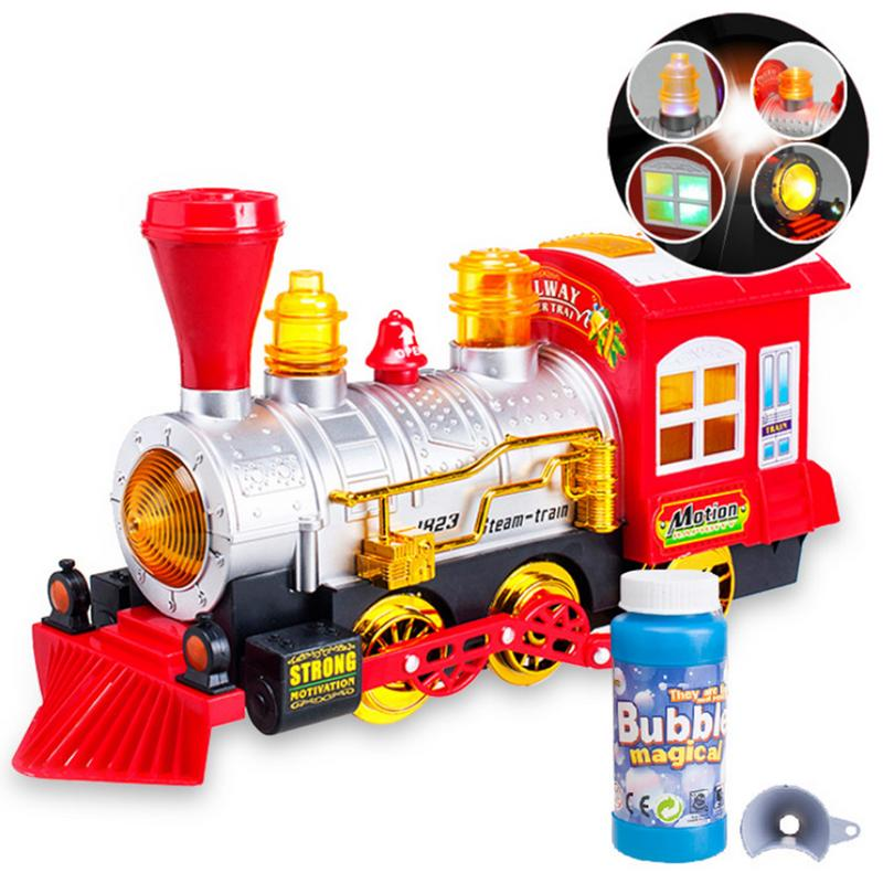 Electric Music Blowing Bubbles Train Children's Educational Toys Electric Model Toys Brain Game Kids Creative Christmas Gift