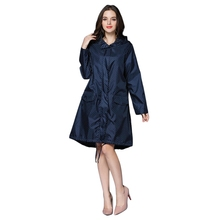 Fashion WomenS Raincoat Breathable Ladies Long Portable Waterproof Blue With Dot Print