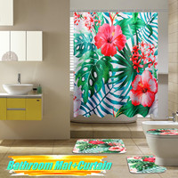 2018 New Arrival Bathroom Watercolor Shower Curtain Pedestal Rug Pad Lid Toilet Cover Bath Mat