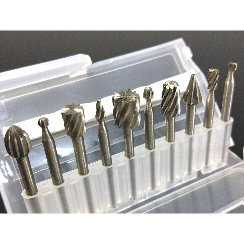 10Pcs Set Box-packed Rotary Files/Rasps Fraise/Carbure Wood Knife/Carving Abrasives Tools HSS 4241 Dremel Tools Accessories