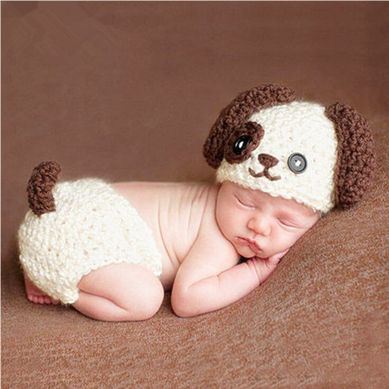 Baby Photography Props Cute Baby Shooting Knitted Clothing Cartoon Hat+Pant Set Baby Photo Props Studio Fotografia Accessories