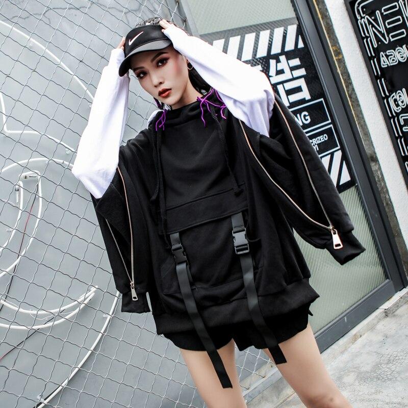 LANMREM 2018, новая мода, большие размеры, черный и белый цвета, с капюшоном, на молнии, с длинным рукавом, толстовка, женские топы, свободные толстовки, Vestido YE89201