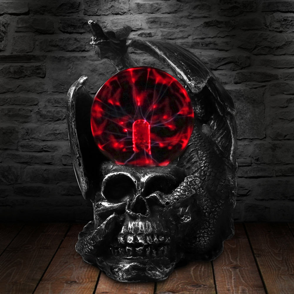 Gothic Dragon On A Skull Head Statue With Electric Glass Horror Lighting Plasma Ball Skull Figurine Novelty Desk Lamp