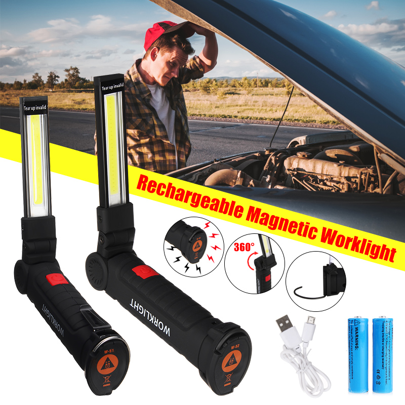 Portable COB LED Work Light USB Rechargeable Flashlight Magnetic COB Lanterna Torch Hanging Hook Lamp Built-in 18650 Battery 4 in 1 led flashlight magnetic work light rechargeable stand hanging swivel hook rotation power bank torch lamp mfbs