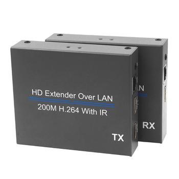 200m HDMI Over IP Network Extender with IR 1080P HDMI RJ45 Transmitter Receiver Support CAT5E/6 LAN Network Splitter