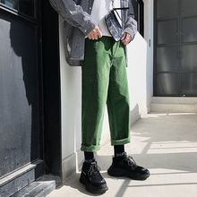 2018 Fashion Mens Casual Pants Autumn And Winter New Korean Version Of The Trousers Trend Loose Nine Youth Corduroy Green