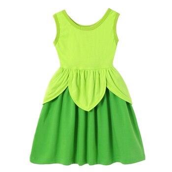 Fancy Tinkerbell Dress per I Bambini Della Ragazza Della Principessa Costumi Senza Maniche Casual Vestiti di Estate del Cotone Vestito Estivo Per Bambini Regalo Di Compleanno