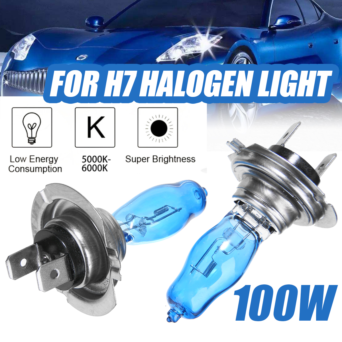 2pcs 12V <font><b>100W</b></font> H7 Halogen Lamp Super White With Xenon Gas Car <font><b>HeadLight</b></font> Auto Replacement Bulb image