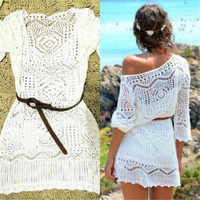 Sexy Off Shoulder Crochet Hollow Dress Women Summer 2019 Long Sleeve White Mini Party Dresses Women Clothing