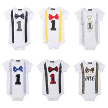 Baby Clothes Boy Gentleman Bowknot Short Sleeve Letter Print Baby Rompers Jumpsuit Outfits Summer New Born Baby Clothes 0-1Years(China)