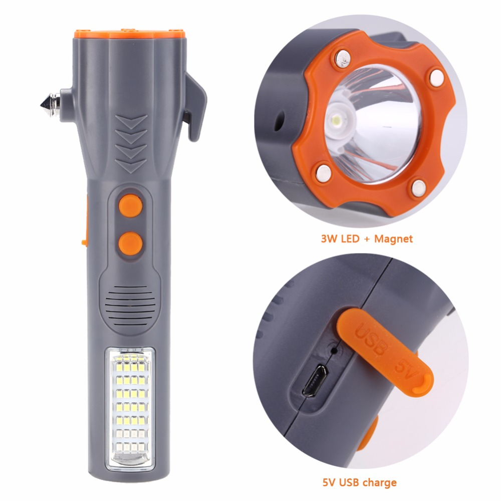 Multi-function 29 LED Flashlight Powerful Flash Torch Light With Emergency Hammer Seat Belt Cutter USB Work Safety Light HotSale
