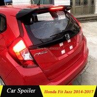 For Honda fit 2014 Spoiler ABS Material Car Rear Wing Spoiler with light For Honda fit jazz 2014 2015 2016 2017