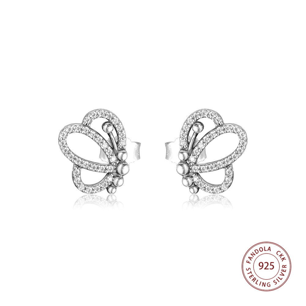 Fandola 100% 925 Sterling Silver Butterfly Outlines Stud Earrings For Women Wedding Earring Jewelry joyas de plata 925Fandola 100% 925 Sterling Silver Butterfly Outlines Stud Earrings For Women Wedding Earring Jewelry joyas de plata 925