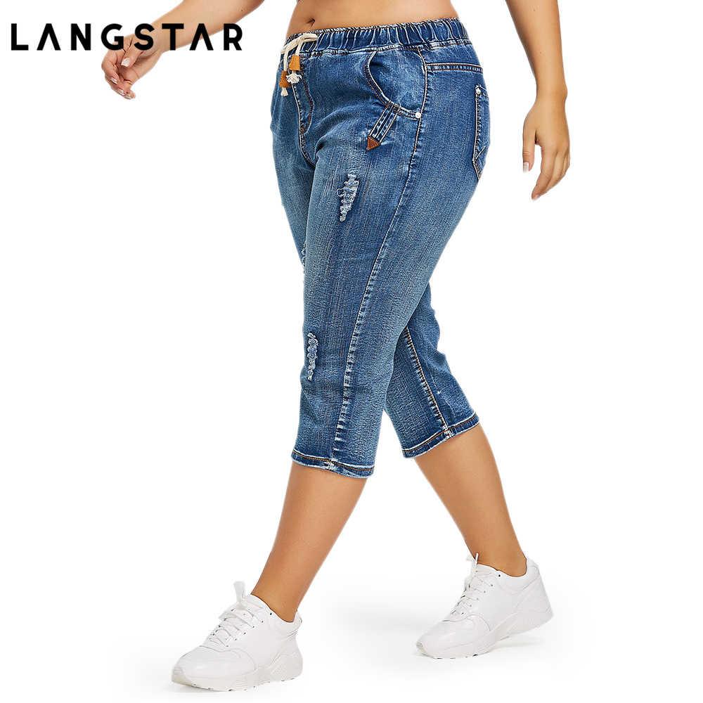 83850a20c7c ... Fashion Plus Size 4XL Drawstring Waist Boyfriend Capris Jeans Mom Women  Loose Ripped Distressed Denim Cropped ...