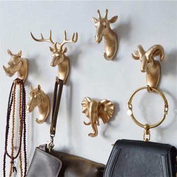 herten hoofd dier zonder nail vlothes display stand haak jas rack cap interieur muur zak sleutel haken