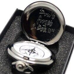 Черный Стальной алхимик карманные часы кварцевые Ожерелье из кожаной цепи коробка сумка Relogio De Bolso комплекты с часами подарки для мужчин и ж...