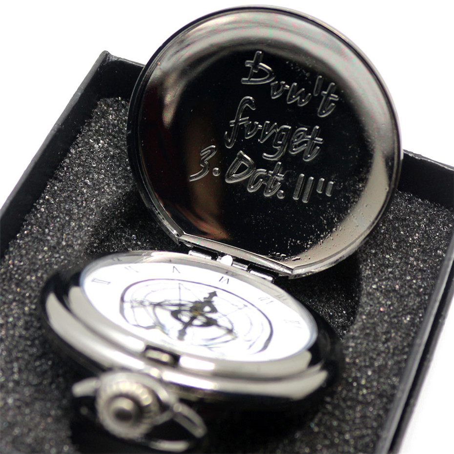 Black Fullmetal Alchemist Pocket Watch Quartz Necklace Leather Chain Box Bag Relogio De Bolso Watch Sets Gifts For Men Women