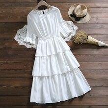 Banulin Mori Girl Kawaii Sweet Cake Dress New Summer Women Ruffled Short Sleeve Knee-Length Boho Party Female Cotton Dresses