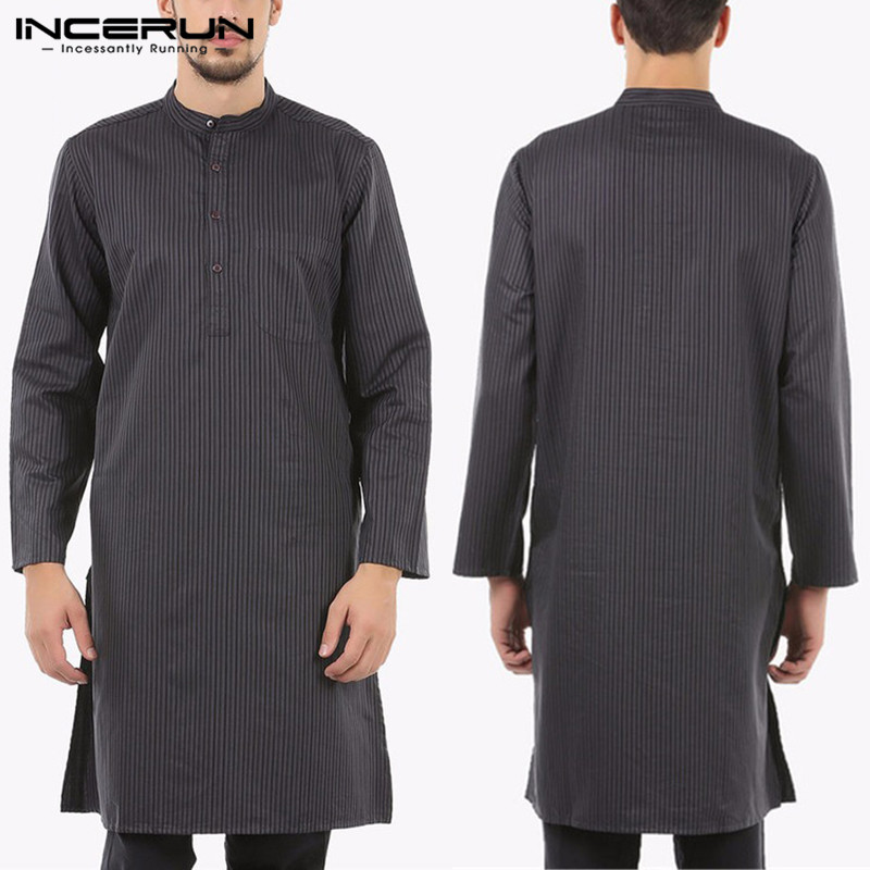 Brand Thobe Jubba Dress  Suit Mens Clothing Robe Long Sleeve Saudi Arab Thobe Man Kaftan Arabe Islamic Thobe Muslim S-5XL