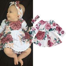 Платье для новорожденных девочек детское платье с длинными рукавами и цветочным рисунком+ повязка на голову, комплект одежды из 2 предметов, одежда для детей от 0 до 24 месяцев