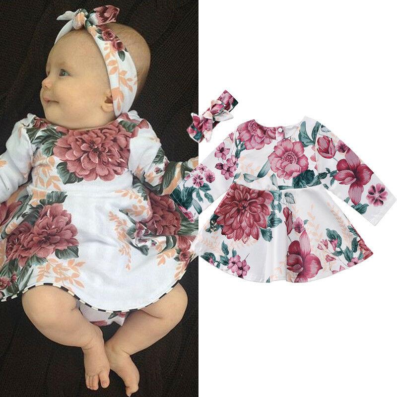 Newborn Infant Baby Girls Dress Floral Kids Long Sleeve Dress +Headban