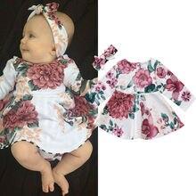 Newborn Infant Baby Girls Dress Floral Kids Long Sleeve