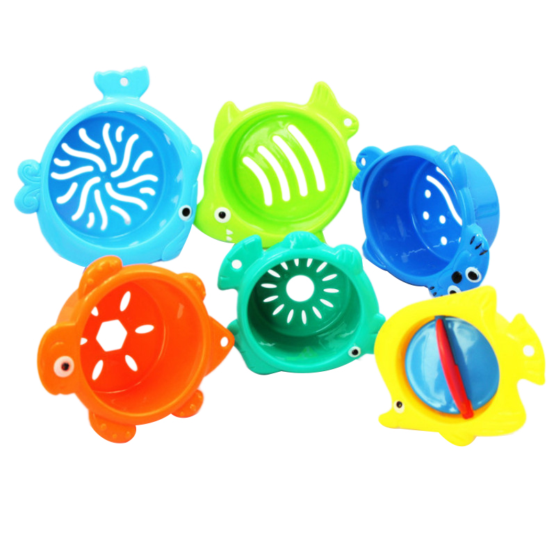 6-Piece Stacking Cups Baby Bath Toys Children'S Bathroom Educational Water Toys Children'S Marine Animals Stacking Cup Toys